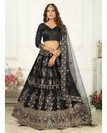 Black Color Silk Fabric Zari And Dori Work Crop Top Lehenga Choli