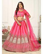 Hot Pink Color Silk Fabric Dori And Zari Work Panelled Lehenga Choli