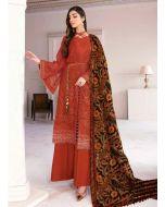 Georgette Fabric Dark Orange Color Resham Work Palazzo Salwar Suit