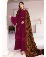 Heavenly Looking Maroon Color Georgette Fabric Palazzo Salwar Kameez